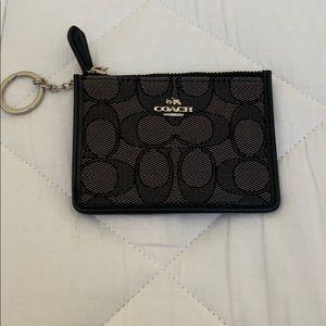 "Coach ""C"" black ring keychain card holder"
